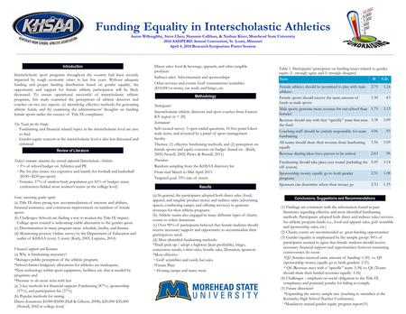 Funding Equality in Interscholastic Athletics Aaron Willoughby, Steve Chen, Shannon Callihan, & Nathan Kizer, Morehead State University 2014 AAHPERD Annual.