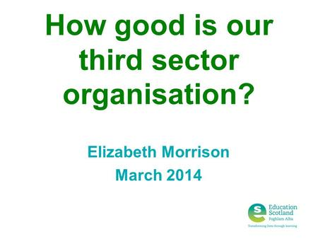 How good is our third sector organisation? Elizabeth Morrison March 2014.