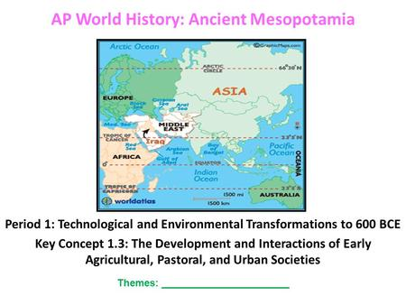 AP World History: Ancient Mesopotamia Period 1: Technological and Environmental Transformations to 600 BCE Key Concept 1.3: The Development and Interactions.