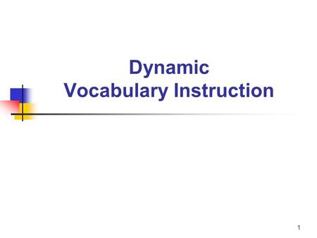 1 Dynamic Vocabulary Instruction. 2 Anita L. Archer, PHD Author, Consultant, Teacher The content <strong>of</strong> this presentation is expanded.