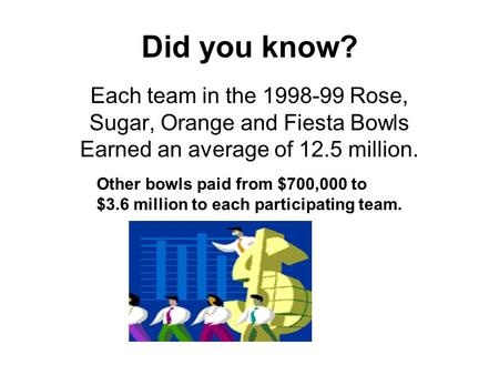 Did you know? Each team in the 1998-99 Rose, Sugar, Orange and Fiesta Bowls Earned an average of 12.5 million. Other bowls paid from $700,000 to $3.6 million.