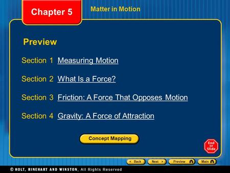 Chapter 5 Preview Section 1 Measuring Motion
