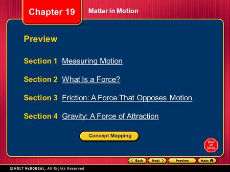 Preview Section 1 Measuring Motion Section 2 What Is a Force?