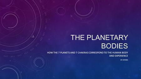 THE PLANETARY BODIES HOW THE 7 PLANETS AND 7 CHAKRAS CORRESPOND TO THE HUMAN BODY AND EXPERIENCE BY AIYANA.