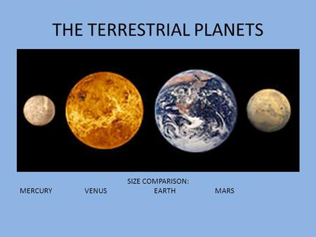 THE TERRESTRIAL PLANETS SIZE COMPARISON: MERCURY VENUS EARTH MARS.