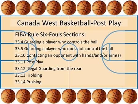 Canada West Basketball-Post Play FIBA Rule Six-Fouls Sections: 33.4 Guarding a player who controls the ball 33.5 Guarding a player who does not control.