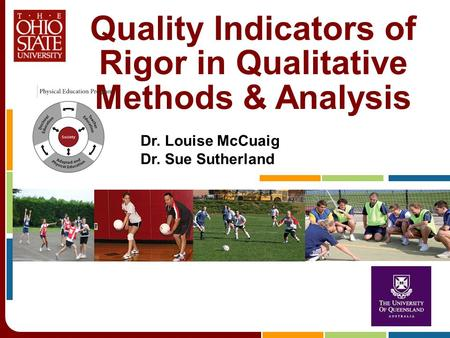 Quality Indicators of Rigor in Qualitative Methods & Analysis Dr. Louise McCuaig Dr. Sue Sutherland.