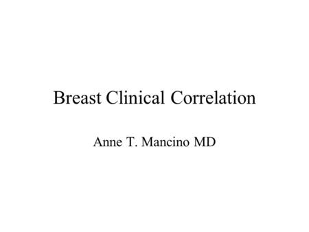 Breast Clinical Correlation