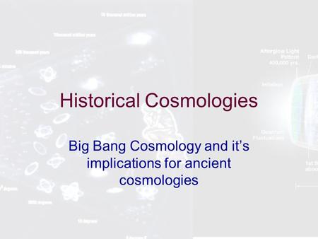 Historical Cosmologies Big Bang Cosmology and it's implications for ancient cosmologies.