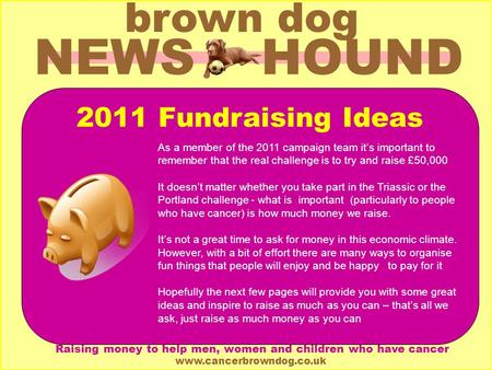 NEWS HOUND brown dog Brown Dog is a Registered Charity (1111550) Raising money to help men, women and children who have cancer www.cancerbrowndog.co.uk.