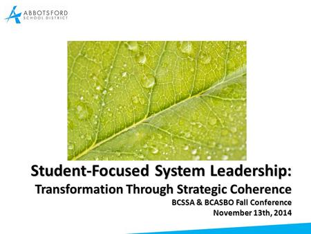 Student-Focused System Leadership: Transformation Through Strategic Coherence BCSSA & BCASBO Fall Conference November 13th, 2014.