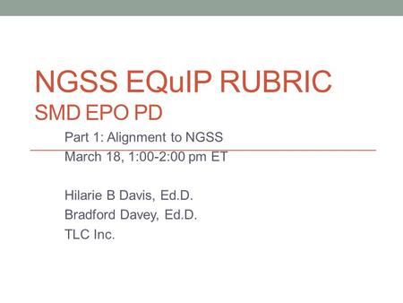 NGSS EQuIP Rubric SMD EPO PD