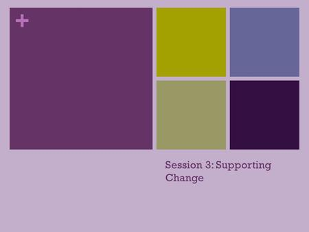 + Session 3: Supporting Change + Tonight's Topics Supporting Change: Why do people resist change?? Why do people change? How do we support change MANAGING.