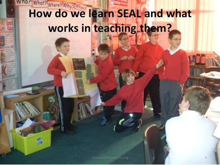 How do we learn SEAL and what works in teaching them? www.sealcommunity.org1.