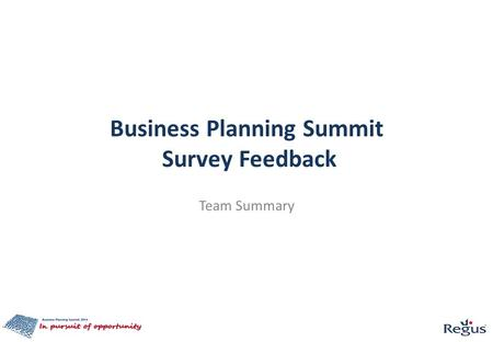 Business Planning Summit Survey Feedback Team Summary.