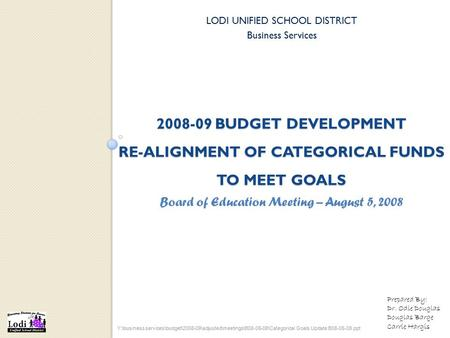 2008-09 BUDGET DEVELOPMENT RE-ALIGNMENT OF CATEGORICAL FUNDS TO MEET GOALS LODI UNIFIED SCHOOL DISTRICT Business Services Y:\business services\budget\2008-09\adjusted\meetings\B08-05-08\Categorical.