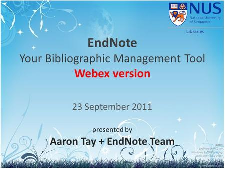 EndNote Your Bibliographic Management Tool Webex version