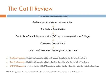 The Cat II Review Cat IIs are normally reviewed by (in order): College (either a person or committee) Curriculum Coordinator Curriculum Council Representative.
