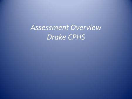 Assessment Overview Drake CPHS. Overview Overview of IDEA Data Assessing college-wide teaching goal Advising Results Q&A.