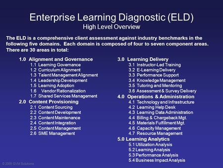 © 2009 GVM Solutions Enterprise Learning Diagnostic (ELD) High Level Overview 1.0 Alignment and Governance 1.1 Learning Governance 1.2 Curriculum Alignment.