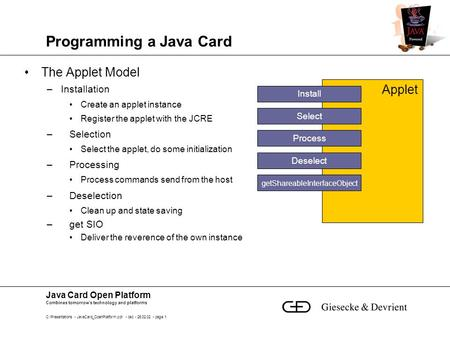 Java Card Open Platform Combines tomorrow's technology and platforms C:\Presentations - JavaCard_OpenPlatform.ppt - bsc - 26.02.02 - page 1 Programming.
