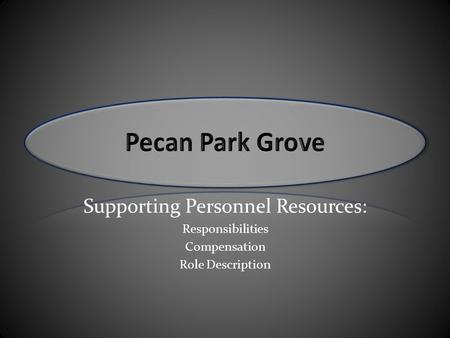 Supporting Personnel Resources: Responsibilities Compensation Role Description.