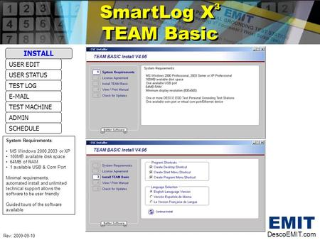 SmartLog X 3 TEAM Basic SmartLog X 3 TEAM Basic DescoEMIT.com USER STATUS USER EDIT E-MAIL TEST LOG ADMIN TEST MACHINE SCHEDULE INSTALL System Requirements: