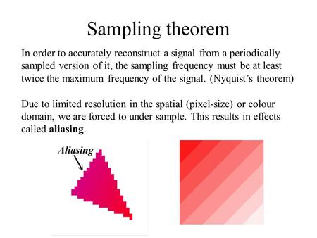 Sampling theorem In order to accurately reconstruct a signal from a periodically sampled version of it, the sampling frequency must be at least twice the.