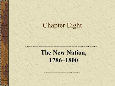 Chapter Eight The New Nation, 1786–1800. Part One Introduction.