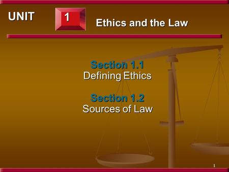 1 Section 1.1 Defining Ethics Section 1.2 Sources of Law 1 UNIT Ethics and the Law.