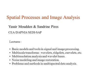 Spatial Processes and Image Analysis Yassir Moudden & Sandrine Pires CEA/DAPNIA/SEDI-SAP Lectures : Basic models and tools in signal and image processing.