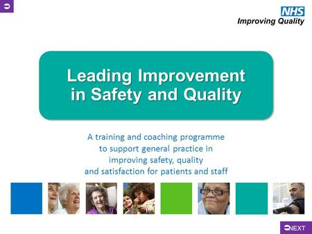 Leading Improvement in Safety and Quality A training and coaching programme to support general practice in improving safety, quality and satisfaction for.