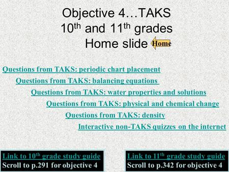 Objective 4…TAKS 10 th and 11 th grades Home slide Questions from TAKS: periodic chart placement Questions from TAKS: water properties and solutions Questions.