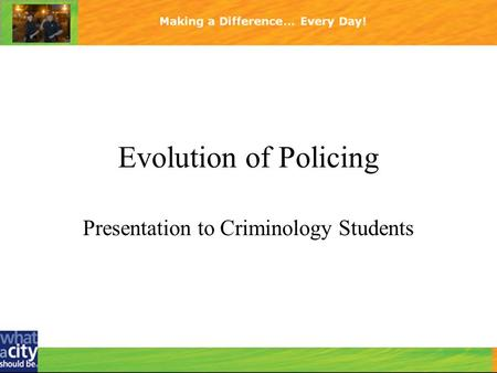 Presentation to Criminology Students