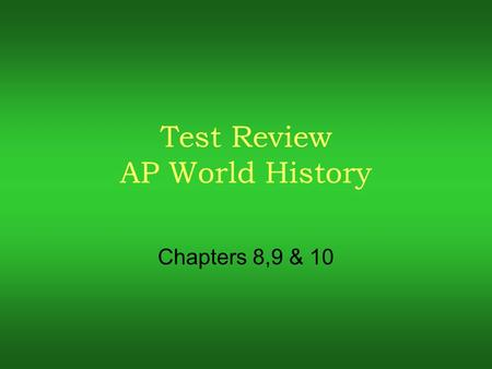 ap world history midterm review Study flashcards on ap world history midterm at cramcom quickly memorize the terms, phrases and much more cramcom makes it easy to get the grade you want.