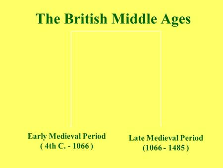 The British Middle Ages Early Medieval Period ( 4th C. - 1066 ) Late Medieval Period (1066 - 1485 )