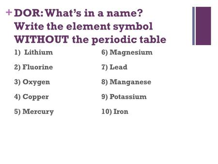 + DOR: What's in a name? Write the element symbol WITHOUT the periodic table 1) Lithium6) Magnesium 2) Fluorine7) Lead 3) Oxygen8) Manganese 4) Copper9)