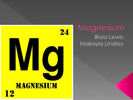  Name of Element : Magnesium Symbol of Element : Mg Atomic Number : 12 Atomic Mass: 24.305 Melting Point: 650.0 °C - 923.15 °K Boiling Point: 1107.0.
