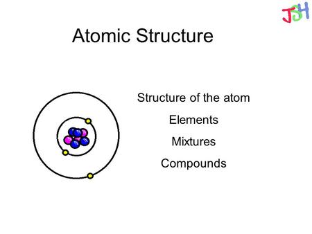 Atomic Structure Structure of the atom Elements Mixtures Compounds.