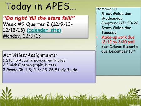 "Today in APES… ""Do right 'till the stars fall!"""