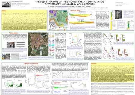 Frequency (Hz) velocity (m/s) AN AS AL SMP PZZ 1D MASW Vs S3 80 m 4 m THE DEEP STRUCTURE OF THE L'AQUILA BASIN (CENTRAL ITALY) INVESTIGATED USING ARRAY.