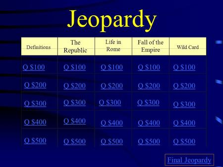 Jeopardy Definitions The Republic Life in Rome Q $100 Q $200 Q $300 Q $400 Q $500 Q $100 Q $200 Q $300 Q $400 Q $500 Final Jeopardy Fall of the Empire.