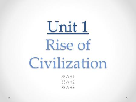 Unit 1 Rise of Civilization