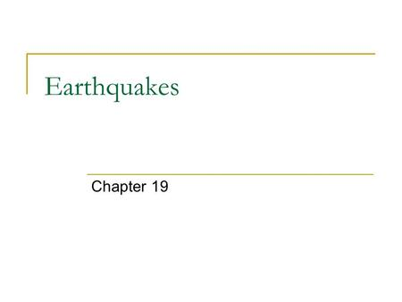 Earthquakes Chapter 19. Focus vs. Epicenter _________– where the rock breaks and seismic waves begin; can be at deep or shallow depths _________ – point.
