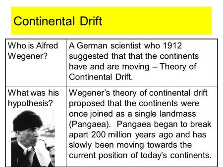Continental Drift Who is Alfred Wegener? A German scientist who 1912 suggested that that the continents have and are moving – Theory of Continental Drift.