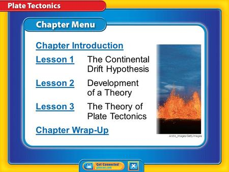 Chapter Menu Chapter Introduction Lesson 1Lesson 1The Continental Drift Hypothesis Lesson 2Lesson 2Development of a Theory Lesson 3Lesson 3The Theory.
