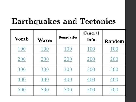 Earthquakes and Tectonics Vocab Waves Boundaries General Info Random 100 200 300 400 500.