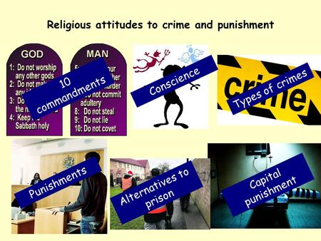 Religious attitudes to crime and punishment 10 commandments Conscience Types of crimes Punishments Alternatives to prison Capital punishment.