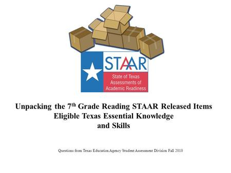 Unpacking the 7 th Grade Reading STAAR Released Items Eligible Texas Essential Knowledge and Skills Questions from Texas Education Agency Student Assessment.