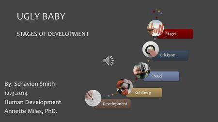 UGLY BABY DevelopmentKohlbergFreudEricksonPiaget STAGES OF DEVELOPMENT By: Schavion Smith 12.9.2014 Human Development Annette Miles, PhD.
